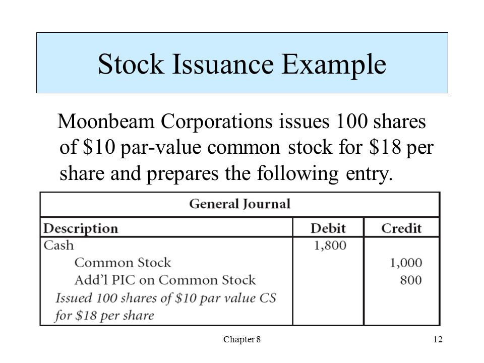 Stock Issuance Example
