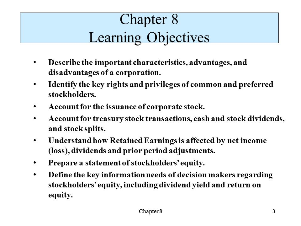 Chapter 8 Learning Objectives
