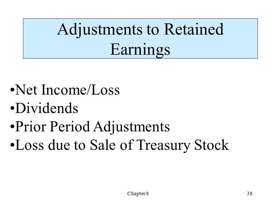Adjustments to Retained Earnings