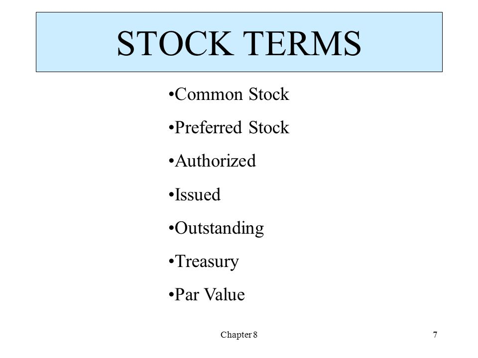 STOCK TERMS Common Stock Preferred Stock Authorized Issued Outstanding