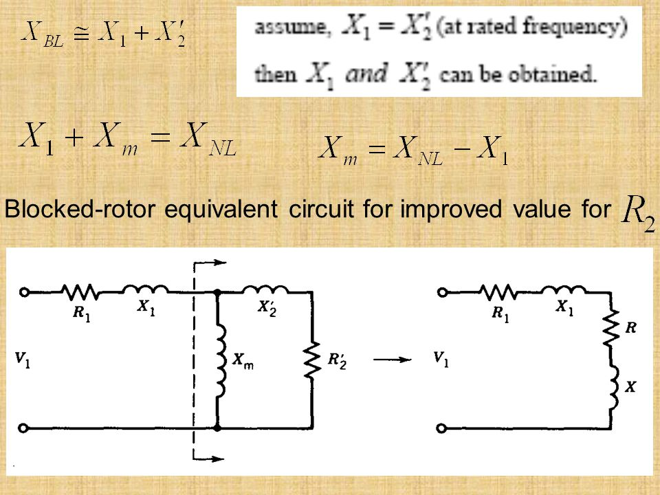Blocked‑rotor equivalent circuit for improved value for