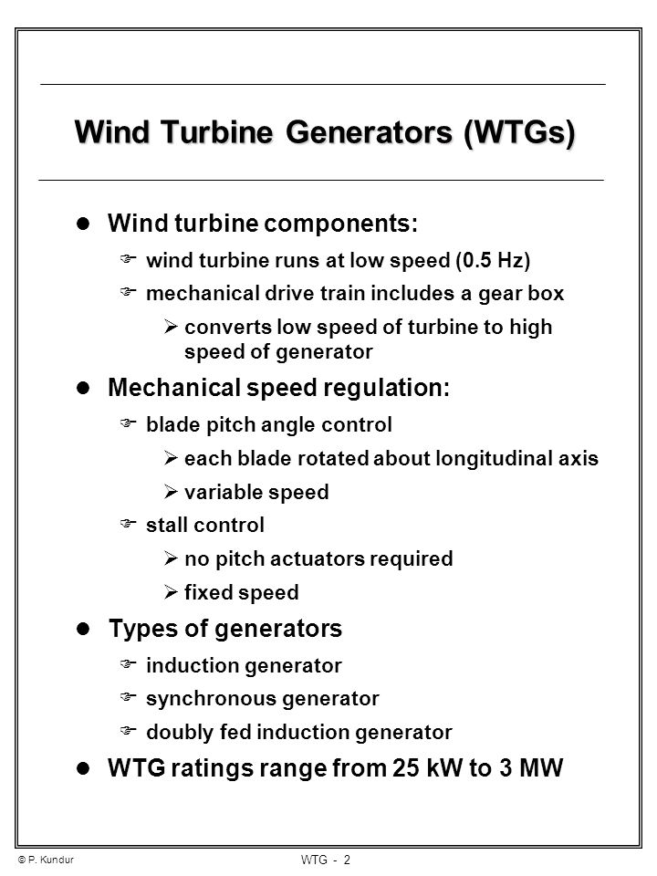 Wind Turbine Generators - ppt video online download