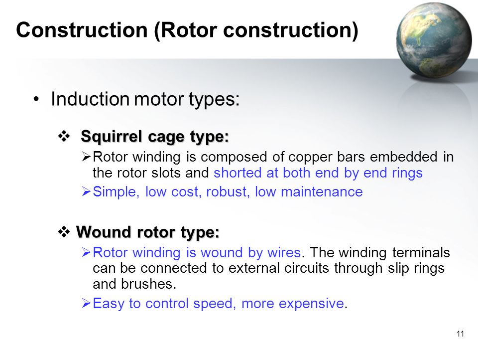 11 Construction (Rotor construction) Induction motor ...