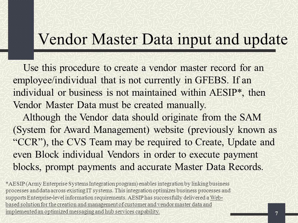 GFEBS Vendor Master Data update for Commercial Vendor