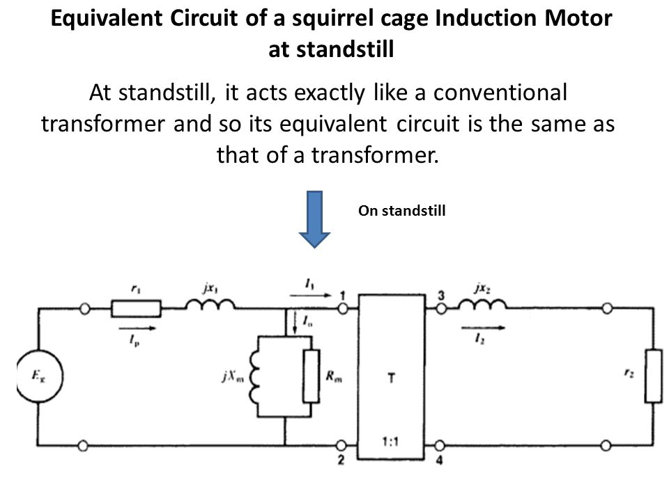 Equivalent Circuit of a squirrel cage Induction Motor at standstill