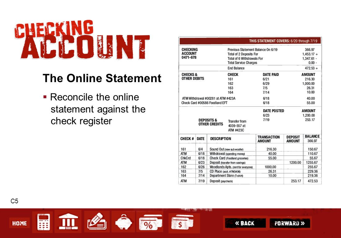 The Online Statement Reconcile the online statement against the check register C5