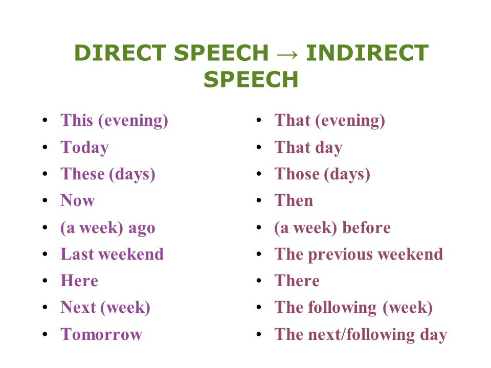 DIRECT SPEECH → INDIRECT SPEECH