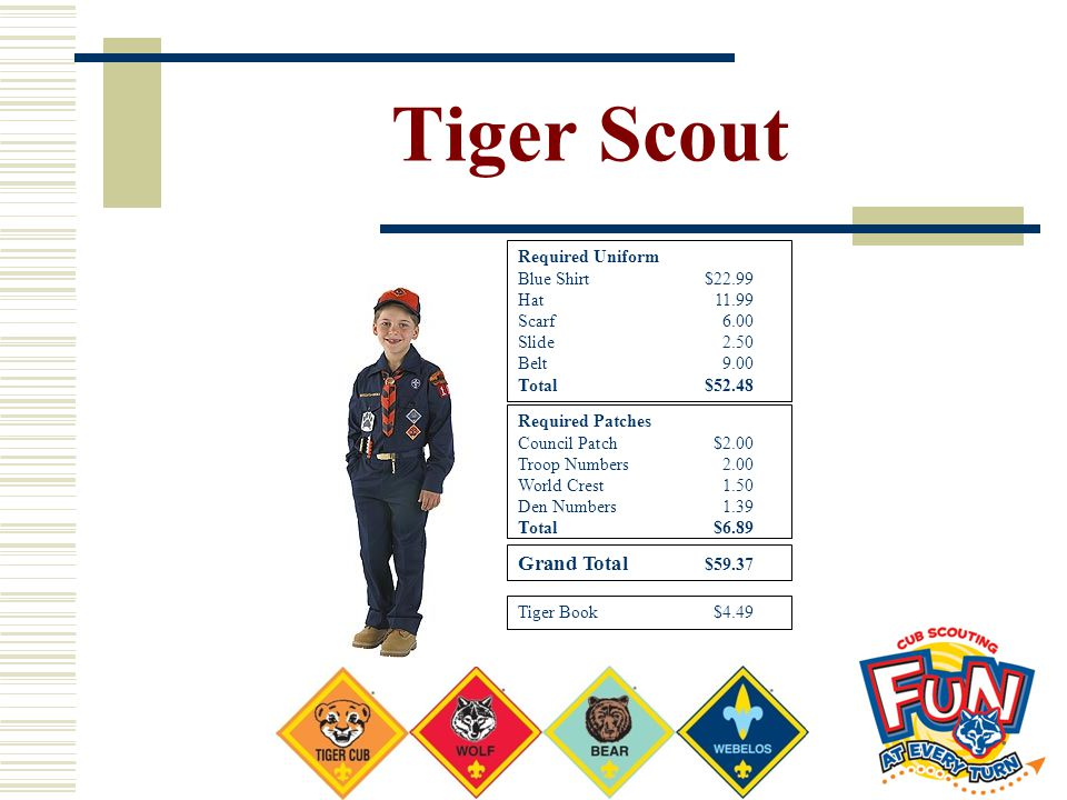 Tiger Scout Grand Total $59.37 Required Uniform Blue Shirt $22.99