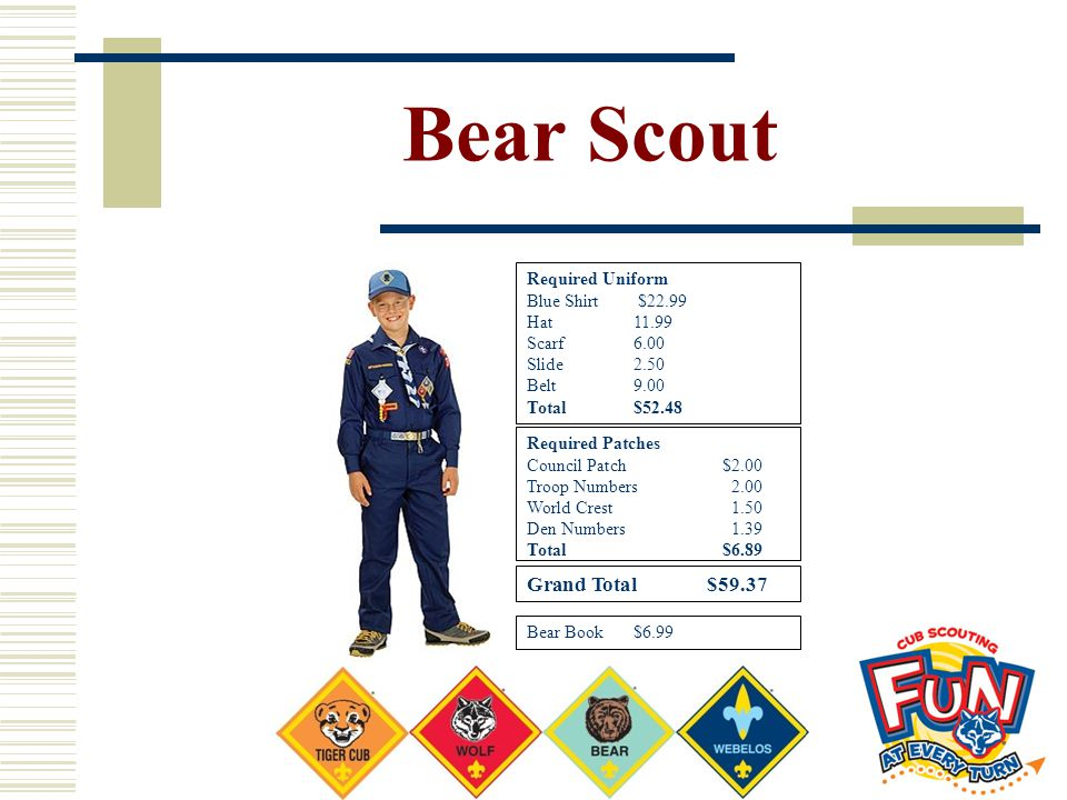 Bear Scout Grand Total $59.37 Required Uniform Blue Shirt $22.99