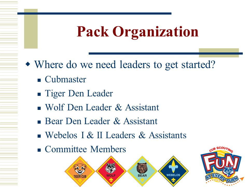 Pack Organization Where do we need leaders to get started Cubmaster
