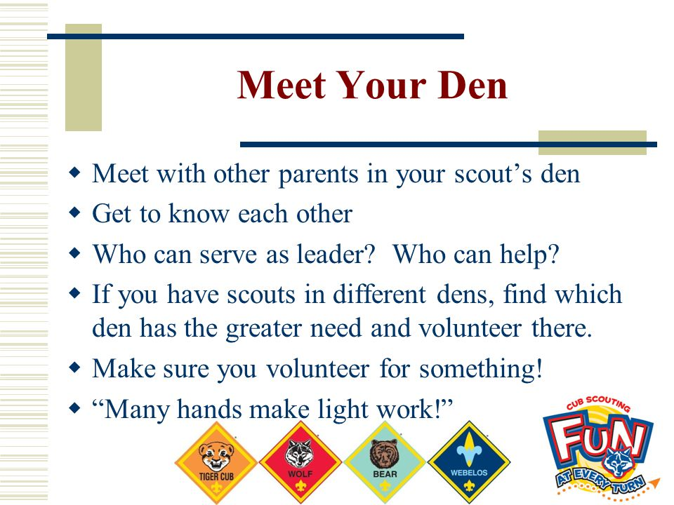 Meet Your Den Meet with other parents in your scout's den