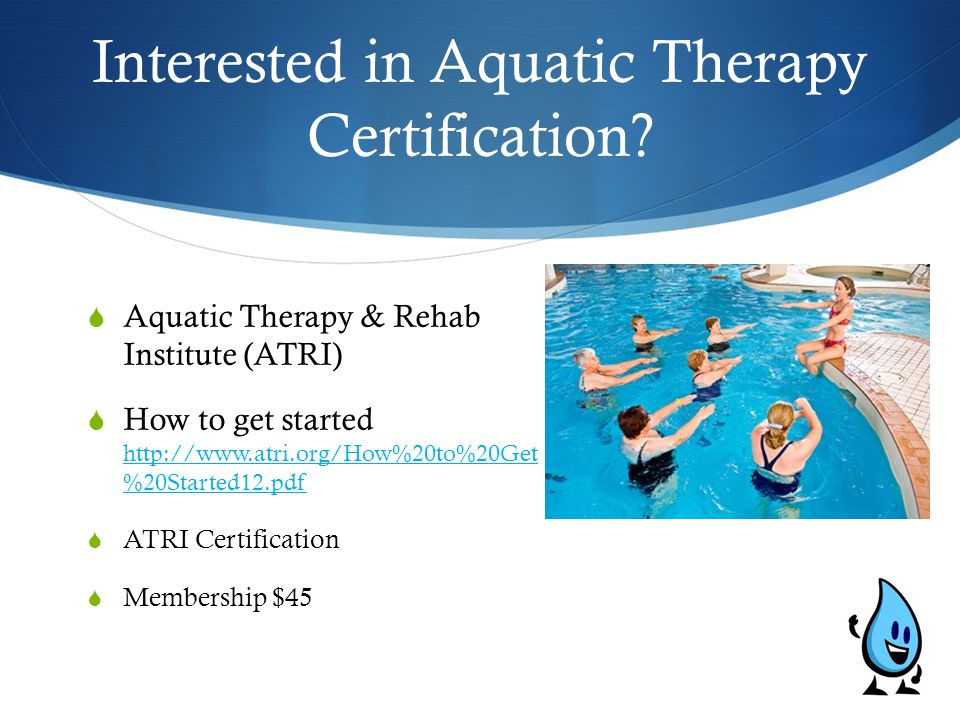 analysis and description of aquatic therapy Aquatic therapy, pool therapy & water therapy are types of physical therapy that occur in a pool or aquatic environment learn about the history & benefits of aquatic therapy see how you can treat certain conditions or injuries with water therapy exercises.
