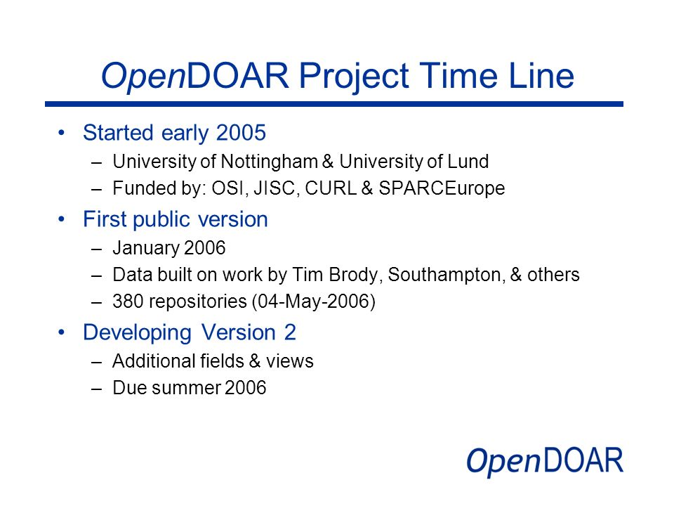 OpenDOAR Project Time Line
