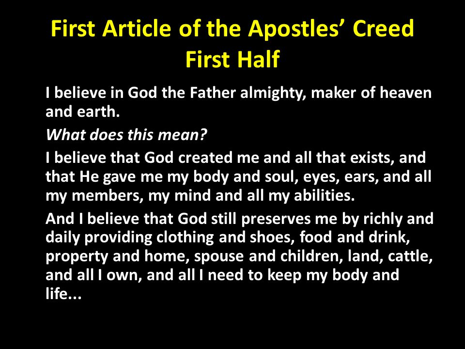 luthers small catechism first article of the apostles creed