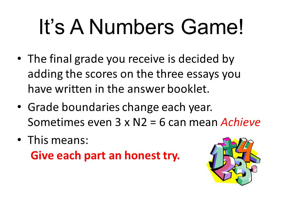 It's A Numbers Game! The final grade you receive is decided by adding the scores on the three essays you have written in the answer booklet.