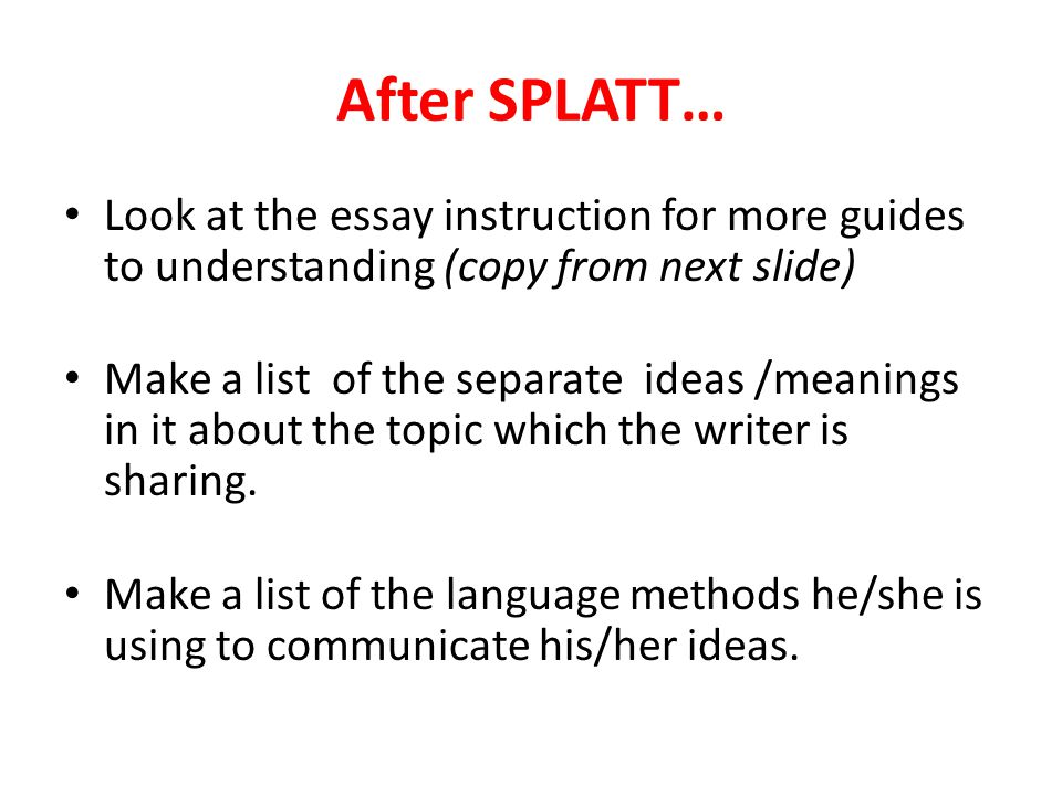After SPLATT… Look at the essay instruction for more guides to understanding (copy from next slide)
