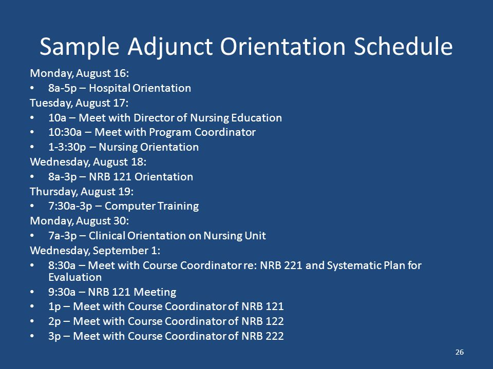 adjunct orientation the key to a successful academic year ppt rh slideplayer com nursing staff orientation manual nursing orientation manual template