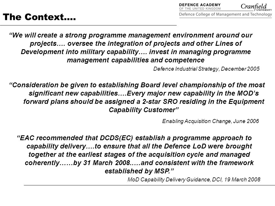 Programme management in defence applying msp ppt download 2 the context malvernweather Choice Image