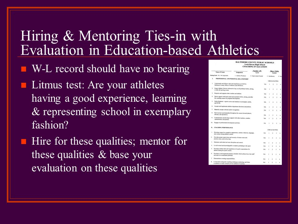 Hiring & Mentoring Ties-in with Evaluation in Education-based Athletics