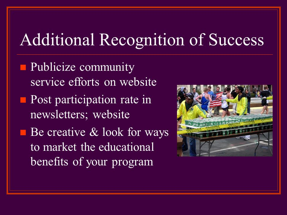 Additional Recognition of Success