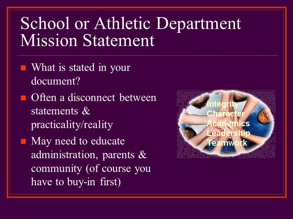 School or Athletic Department Mission Statement