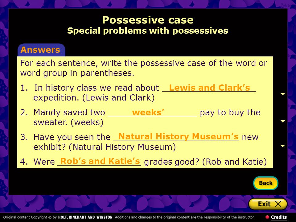 how to write 2 possessives in a row