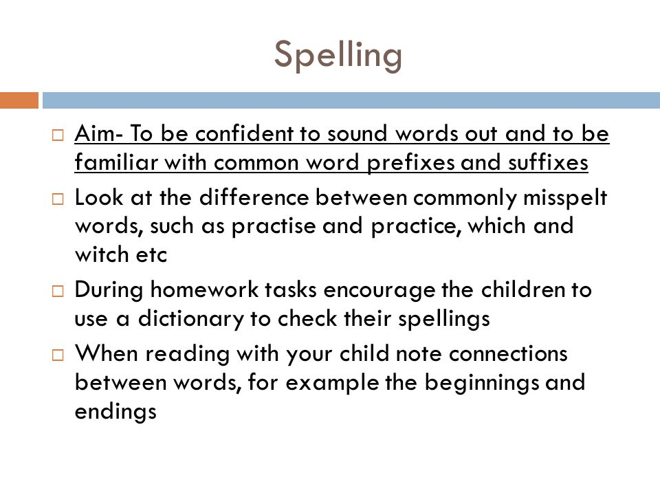 Spelling Aim- To be confident to sound words out and to be familiar with common word prefixes and suffixes.