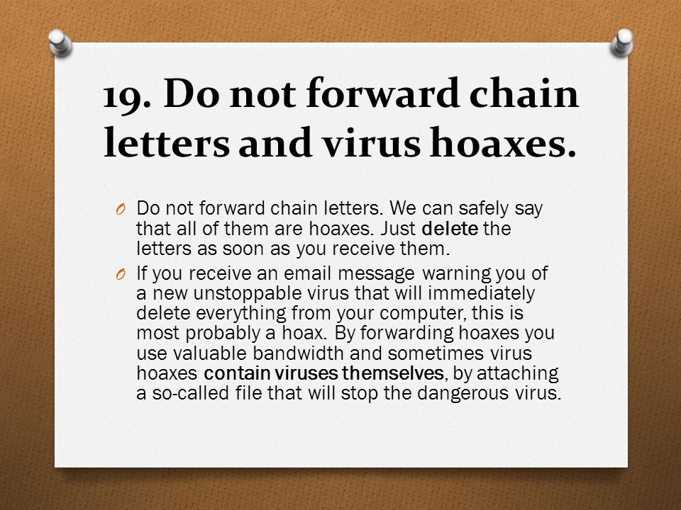Chain letter hoax