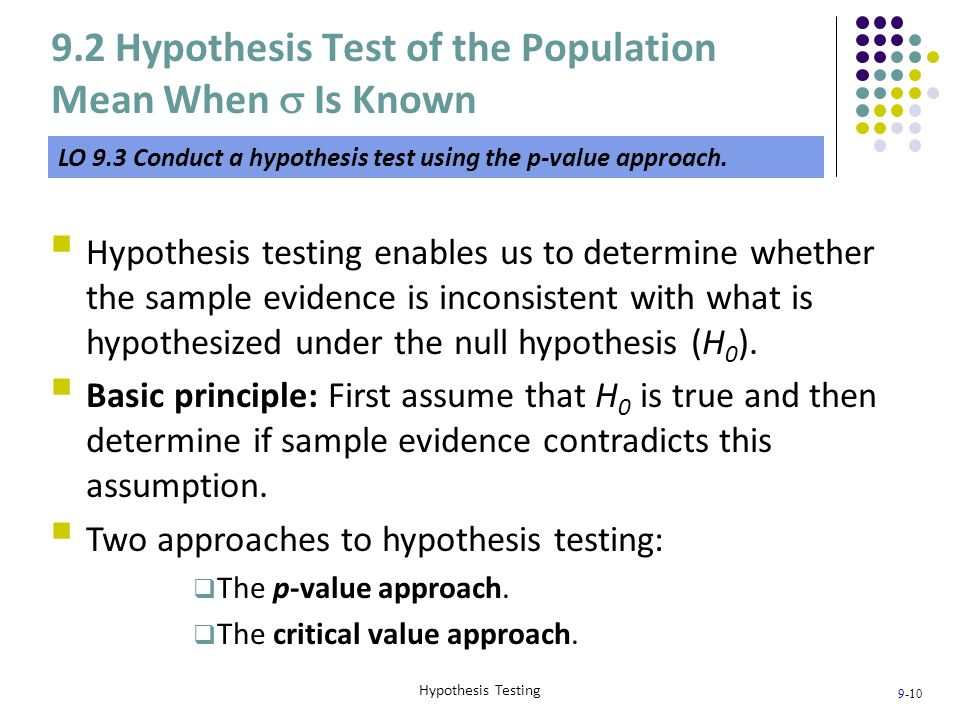 9.2 Hypothesis Test of the Population Mean When s Is Known