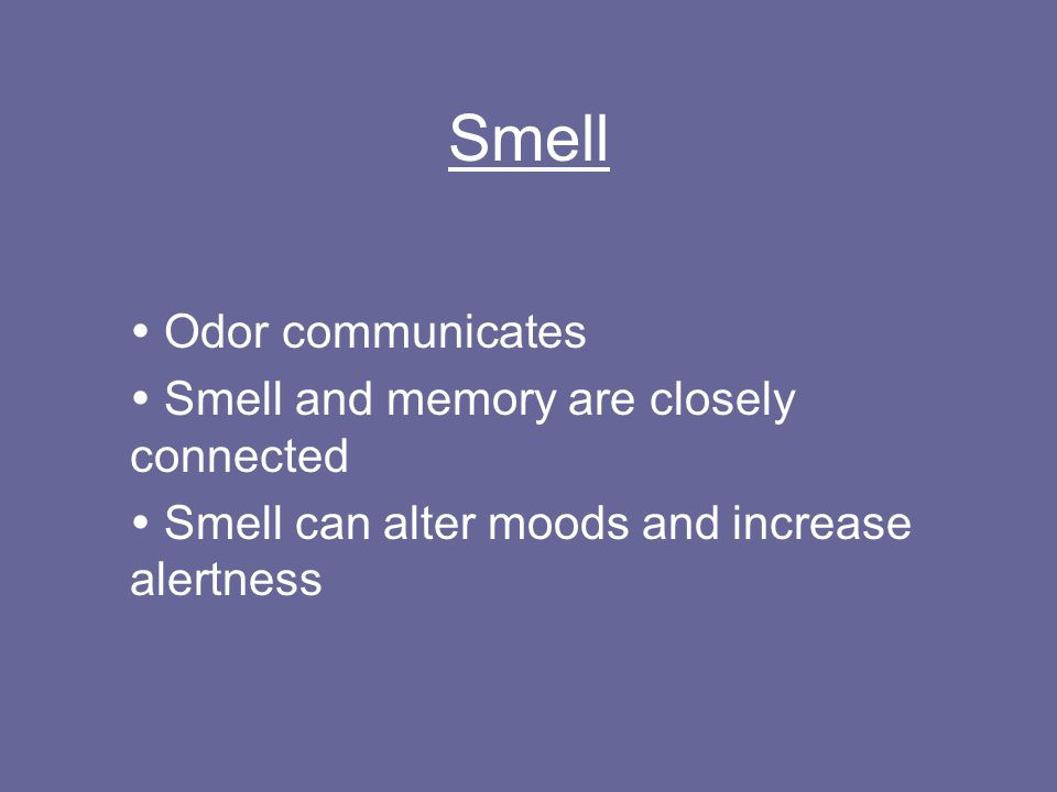 Smell  Odor communicates  Smell and memory are closely connected