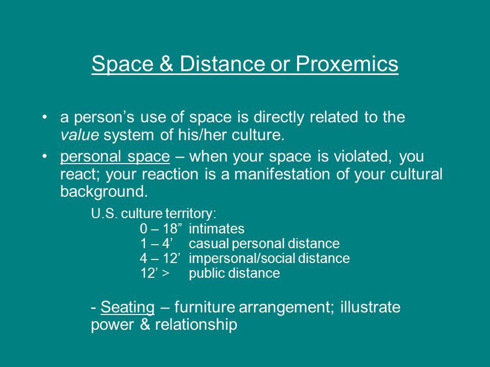 Space & Distance or Proxemics