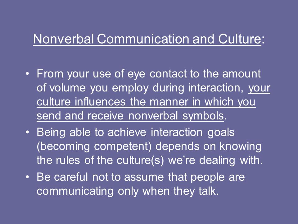 Nonverbal Communication and Culture: