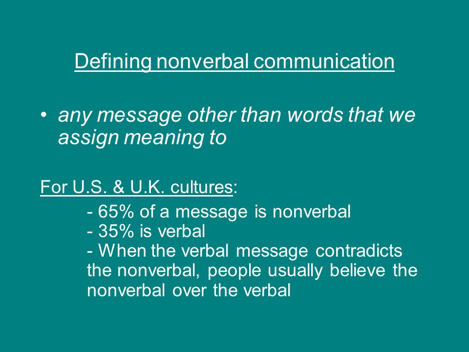 Defining nonverbal communication