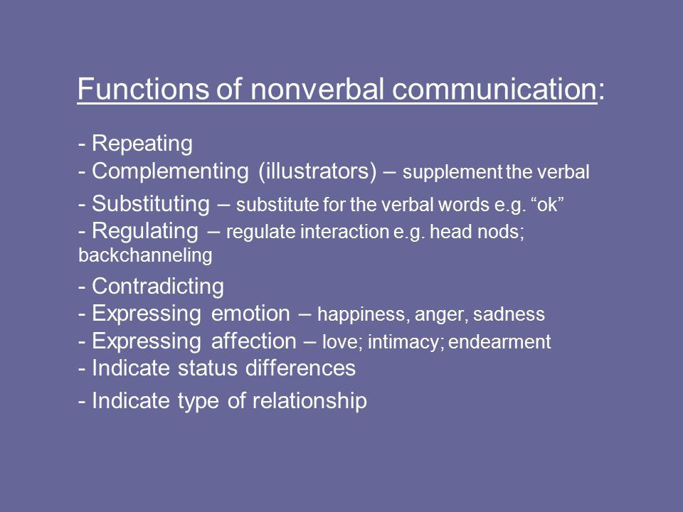 Functions of nonverbal communication: