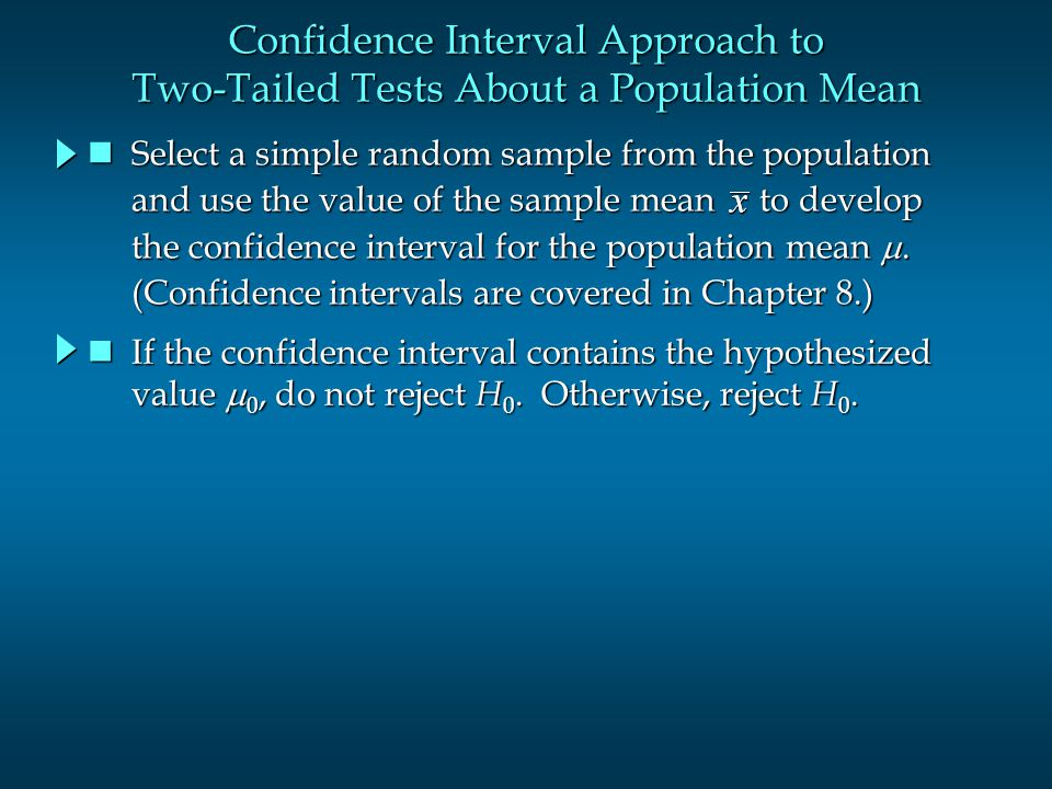 Confidence Interval Approach to Two-Tailed Tests About a Population Mean