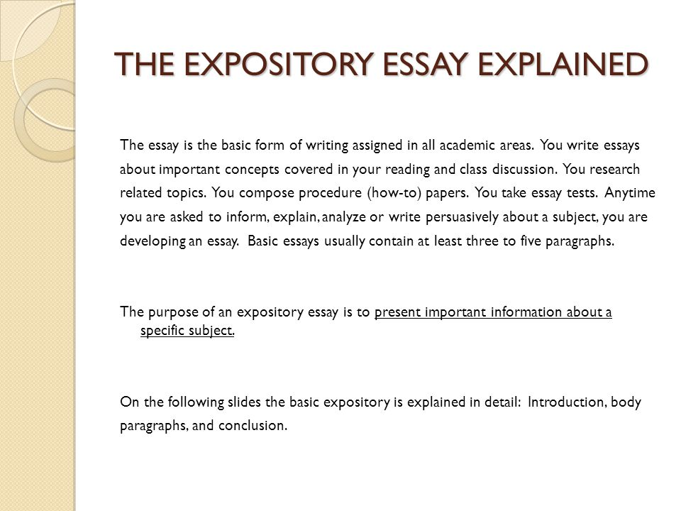 Expository Essay Junior Essay Choose One Of The Following Topics  The Expository Essay Explained