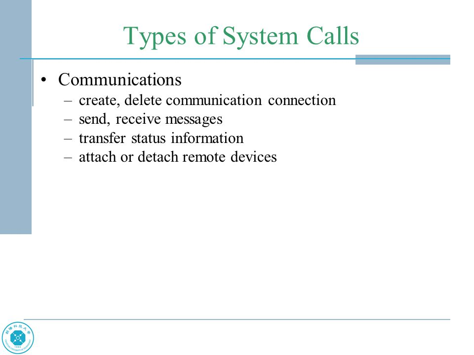 Types of System Calls Communications