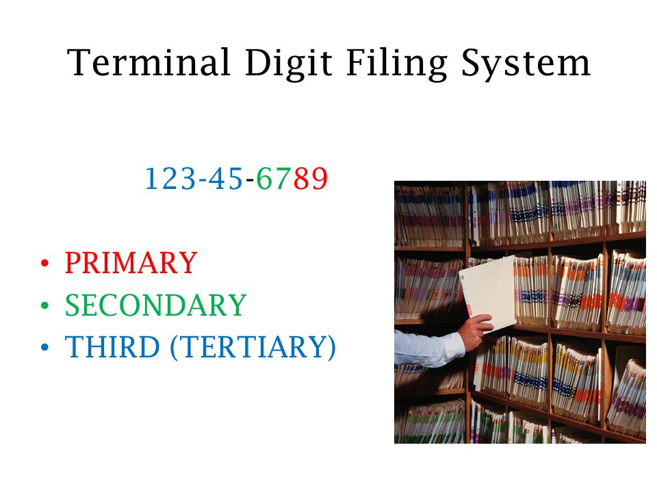 what is terminal digit filing system