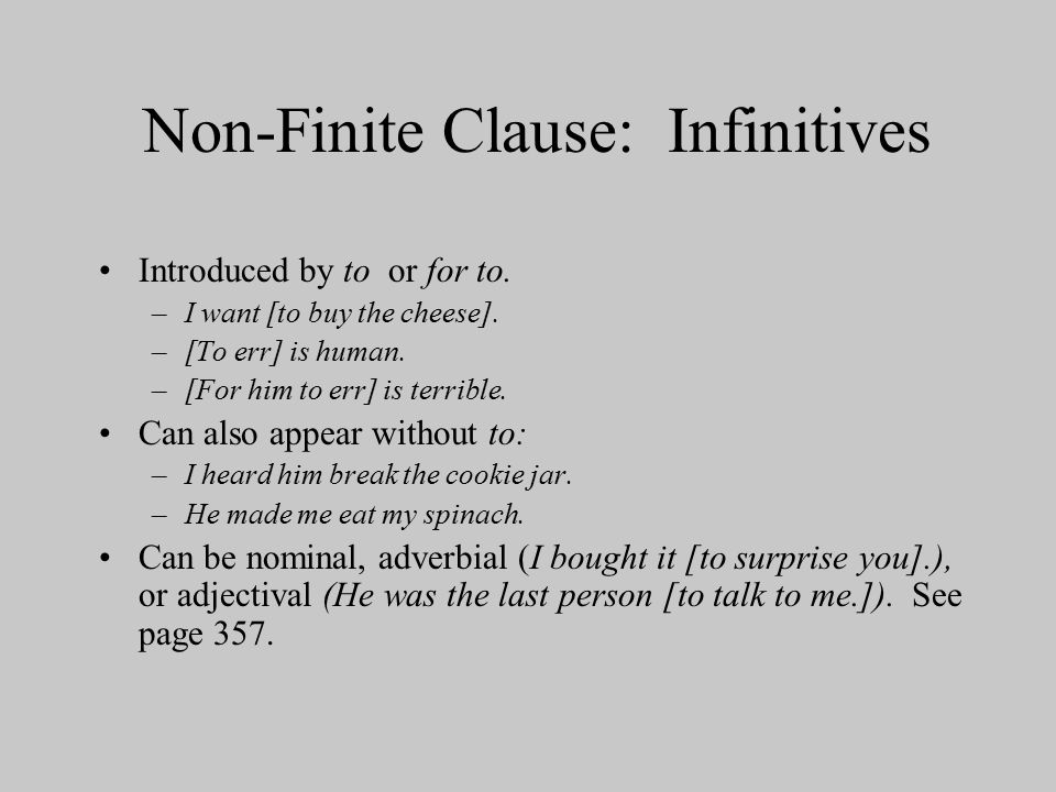 Non-Finite Clause: Infinitives