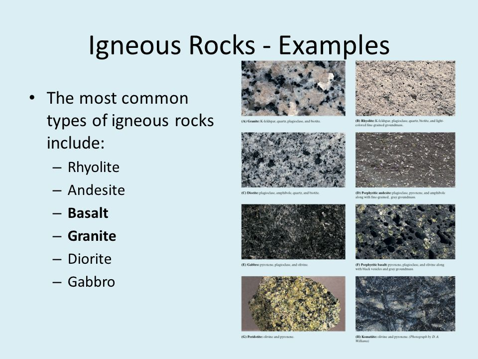 Igneous Rocks - Examples