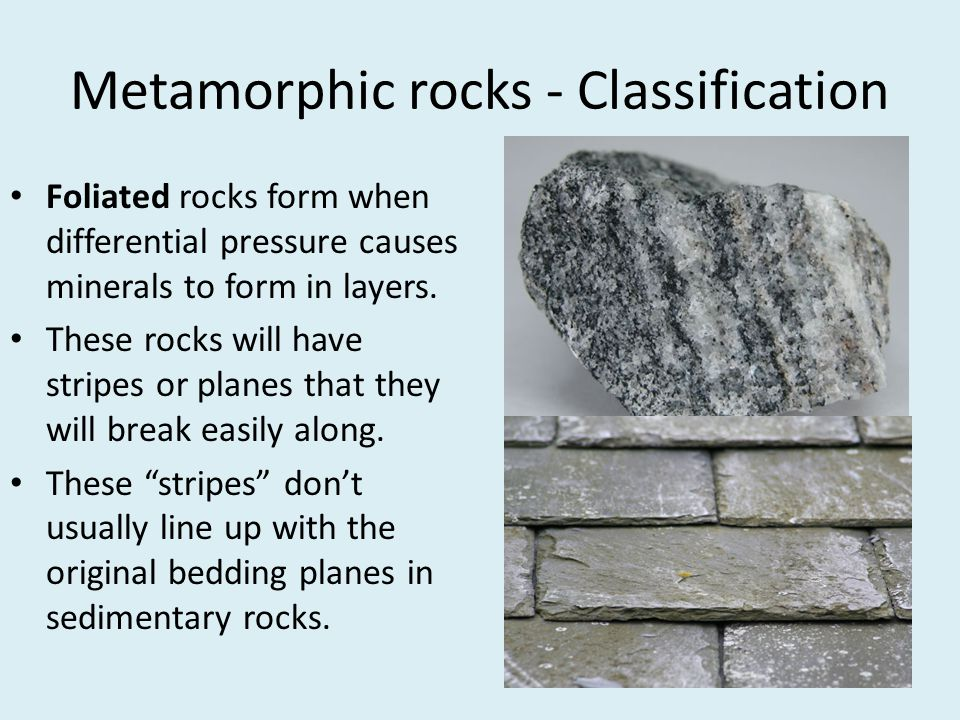 Metamorphic rocks - Classification