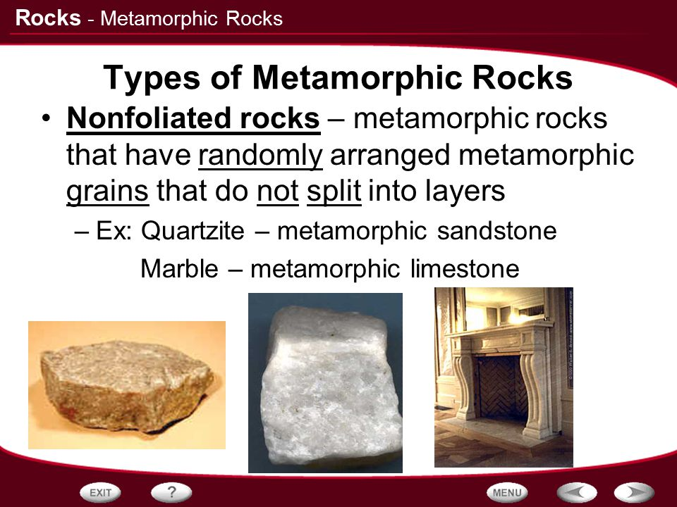 Types of Metamorphic Rocks