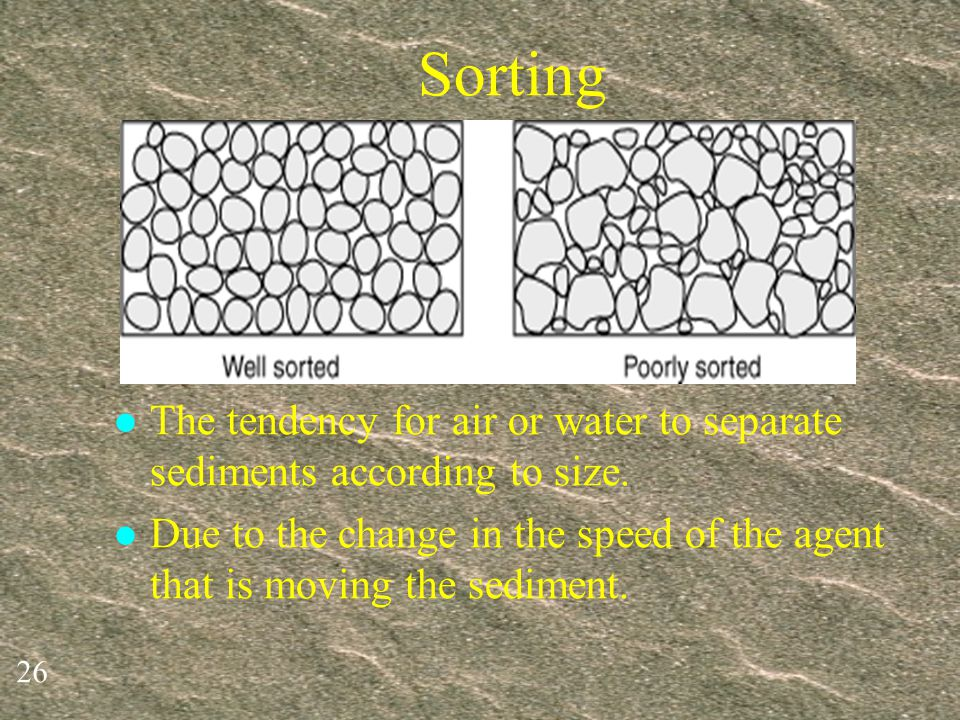 Sorting The tendency for air or water to separate sediments according to size.