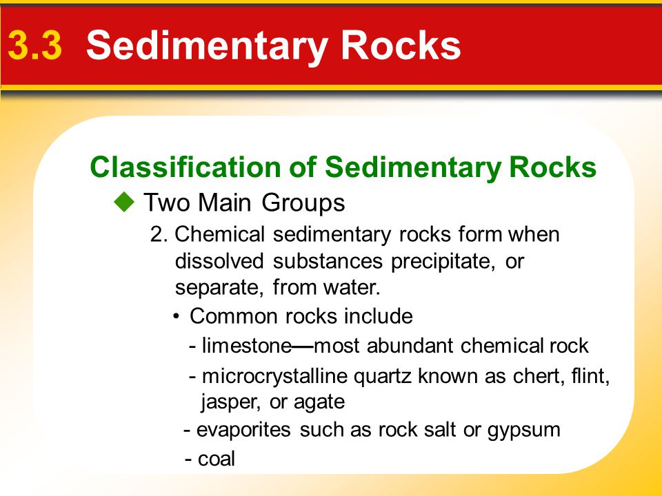 3.3 Sedimentary Rocks Classification of Sedimentary Rocks