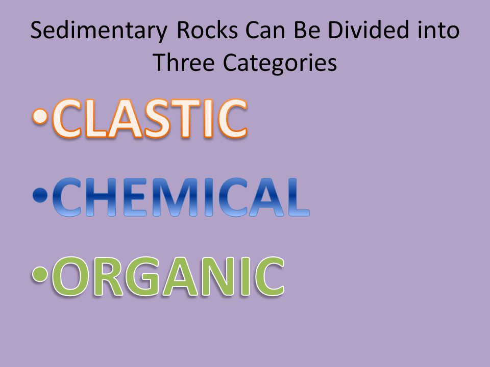 Sedimentary Rocks Can Be Divided into Three Categories