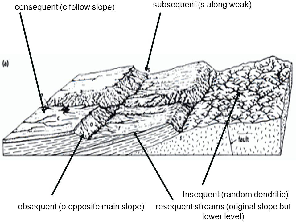 Ilustrasi sungai konsekuen, subsekuen, resekuen, dan obsekuen