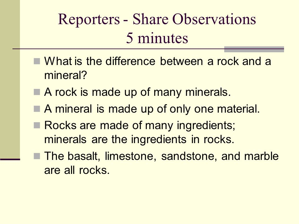 Reporters - Share Observations 5 minutes