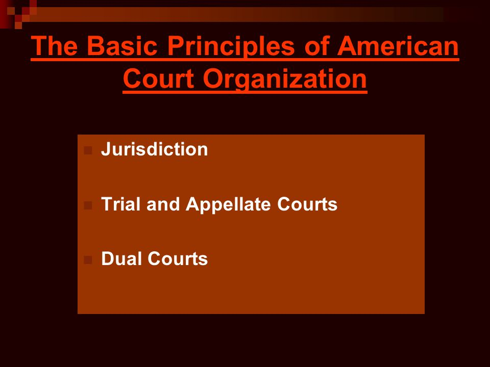 The Basic Principles of American Court Organization