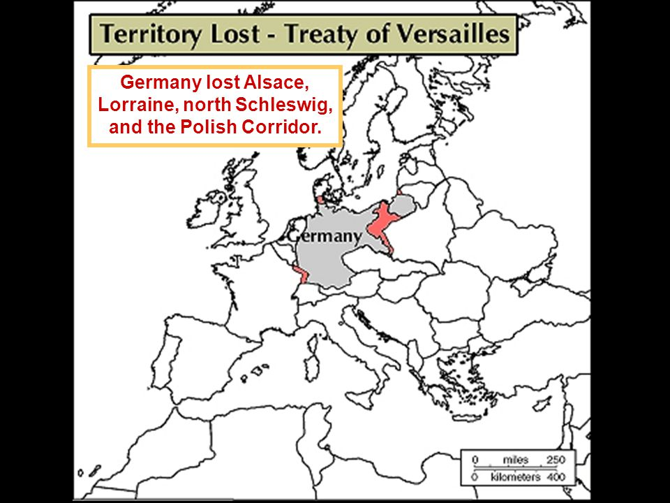Germany lost Alsace, Lorraine, north Schleswig, and the Polish Corridor.