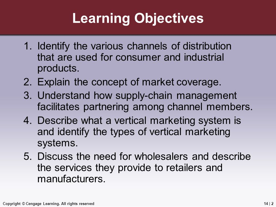 Learning Objectives Identify the various channels of distribution that are used for consumer and industrial products.